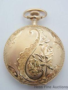 Mint Antique Waltham 14k Gold Hunter Ladies Miniature Pocket Watch #Waltham