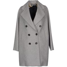 Aquilano-rimondi Coat (3 010 SEK) ❤ liked on Polyvore featuring outerwear, coats, light grey, long sleeve coat, light grey coat, lapel coat, double breasted coat and flannel coat