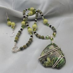 Olivine in Pyrite Pendant Necklace-Sold