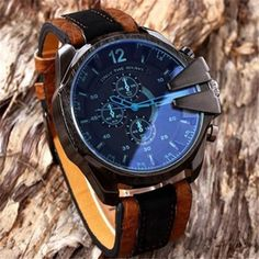 7.07$  Buy now - http://alic97.shopchina.info/go.php?t=32805032018 - Fashion Men's Analog Sport Mens Watches Steel Case Casual Quartz Dial Synthetic Leather Wrist Watch Reloj Hombre 2017 Clock  #buyonlinewebsite