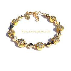 14K Gold-filled Swarovski Crystal Cross Bracelet from Rana Jabero