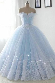 Prinzessin modische ballkleider tüll off-the-schulter abendkleid ausschnitt bal. Princess fashionable ball gowns tulle off-the-shoulder evening dress neckline ball gown evening dress - # Pretty Quinceanera Dresses, Cute Prom Dresses, Formal Dresses, Elegant Dresses, Winter Dresses, Pretty Dresses, Sexy Dresses, Quincenera Dresses Blue, Summer Dresses