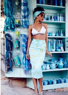 rihanna white and turquoise summer dress 2014
