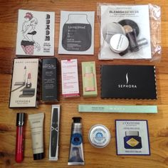NWT High End Makeup Bundle Lot Sephora Includes:  Buxom lip polish in Dolly Living Proof phd split end mender Bare Minerals acne-clearing foundation & brush Marc Jacobs highliner gel eye crayon black Marc Jacobs le marc lip creme lipstick in Kiss Kiss Bang Bang Philosophy night cream Clarins super restorative cream Pixi glow tonic exfoliating toner Sephora compact mirror Sephora oil infusion lip gloss bubbly grenadine Sephora black mascara L'Occitane hand cream, light comforting cream…