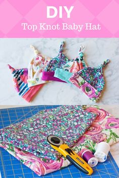 Baby Top Knot Hat Tutorial Baby Hat Pattern and Tutorial Baby Sewing Projects, Sewing Projects For Beginners, Sewing For Kids, Baby Sewing Tutorials, Diy Projects, Sewing Blogs, Sewing Basics, Sewing Tips, Sewing Ideas