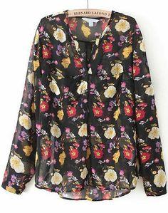 Black V Neck Long Sleeve Floral Chiffon Blouse US$24.75