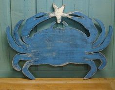 Blue Crab Sign Starfish Beach House Sign Coastal Ocean Wall Art