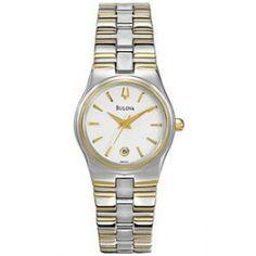 Bulova Women's 2 Tone Watch w/ Round White Dial