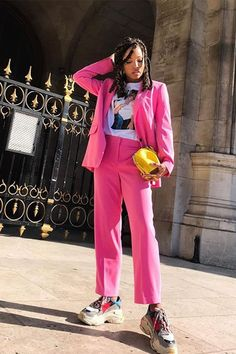 1cc225569ad Best sneakers 2018  Slip into Style wearing pink suit and Balenciaga  trainers Balenciaga Trainers Outfit