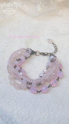 Pink Boho Chic Bracelet, #VintageRoseGallery #etsy , Pink Multi Strand Bracelet, Rose Quartz  Bracelet, by VintageRoseGallery