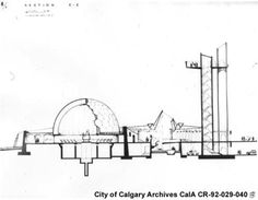 Architectural cross-section of the Centennial Planetarium, Calgary, Alberta - Alberta On Record Planetarium Architecture, Experimental Theatre, Graduation Project, Auditorium, Calgary, Astronomy, Science, Amazing People, Thesis