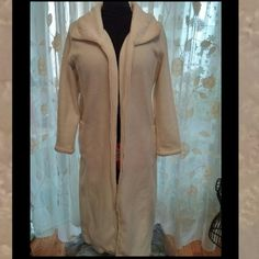 Vintage. Cool...Off~White, Long Jacket, Robe Pretty Embroidered Lapels  Flattering Form Fit  Side Pockets   Full Frontal Zip  Some Signs of Wear / minor fabric peel  In Good Condition   Too, nice not to list. Intimate Essentials  Intimates & Sleepwear Robes