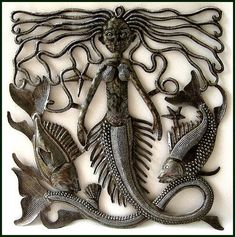 Mermaid Surrounded by the Fish  Haitian Metal Steel Drum Art Wall  -- Haitian Metal Art, Recycled Steel Drum Art of Haiti, Metal Wall Decor - Handcrafted Metal Art  - Haitian Art – Haitian Steel Drum Metal Art – Metal Wall Hanging – Metal Wall Art of Haiti -  by HaitianMetal, $42.95