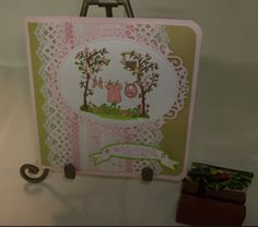 Flourishes and Pink Persimmon Baby Girl Card