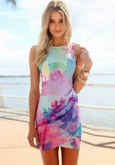 Multicolor Floral Pleated Irregular Round Neck Sleeveless Mini Dress - Mini Dresses - Dresses