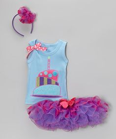 Lilac & Blue 1st Birthday Tutu Set - Infant & Toddler