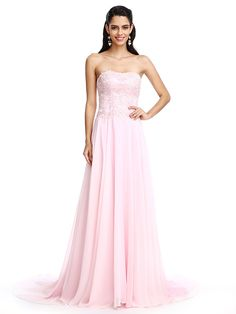 2017 TS Couture® Formal Evening Dress A-line Strapless Court Train Chiffon with Appliques / Beading - USD $89.99 ! HOT Product! A hot product at an incredible low price is now on sale! Come check it out along with other items like this. Get great discounts, earn Rewards and much more each time you shop with us!
