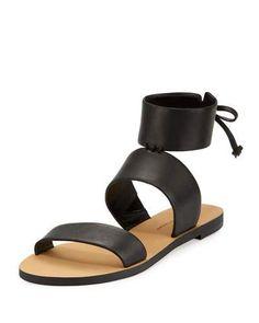 REBECCA MINKOFF Emma Ankle-Wrap Flat Sandal, Black. #rebeccaminkoff #shoes #