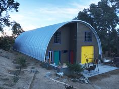 This is one colorful quonset hut