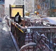 Watercolor - Wintry day in Paris by John Salminen