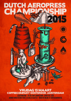 This poster for the Dutch AeroPress Championship is the coolest thing we've seen out of Amsterdam Rad Coffee, Coffee Desk, Coffee Logo, Coffee Art, Coffee Shop, Coffee Can Crafts, Coffee Advertising, Aeropress Coffee, Posters
