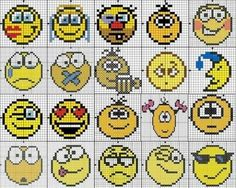 Smiley face x-stitch Cross Stitch Bookmarks, Beaded Cross Stitch, Cross Stitch Charts, Cross Stitch Embroidery, Cross Stitch Patterns, Pearler Bead Patterns, Perler Patterns, Crochet Chart, Filet Crochet
