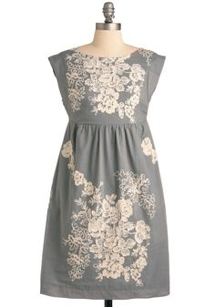Grey-t Escape Dress - Mid-length, Grey, Tan / Cream, Floral, Pockets, Empire, Cap Sleeves, Embroidery, Work