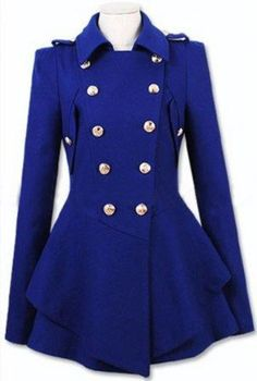 Royal Blue Wool Coat Fitted Military Jacket Coat by Sophiaclothing