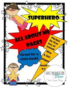 The perfect All About Me Pages for your Superhero themed classroom. Packet includes a boy and girl black and white pages. This is a great activity to include in your first day of school lesson plans. Students will love filling out the blanks and being creative.