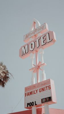 Pink Motel Sign Pastel Pink Aesthetic Aesthetic Collage Photo Wall Collage