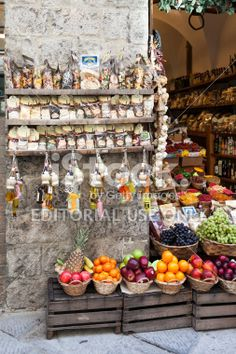 Pasta And Fruit In Grocery Shop Royalty Free Stock Photo