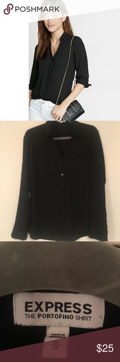 Express Portofino shirt - black Only worn a few times! Great condition! Also available in my closet in white. 💕Original Fit Convertible Sleeve Portofino Shirt  Style # 9799357 A merger of classic shirt confidence and effortlessly sexy style in luxe, semi-sheer fabric. Pair with a pencil skirt and heels for a look that wows in a crowd.  Original fit Point collar, notch neckline, button front Long convertible sleeves with roll tabs Patch breast pockets, shirttail hem Polyester Machine wash…