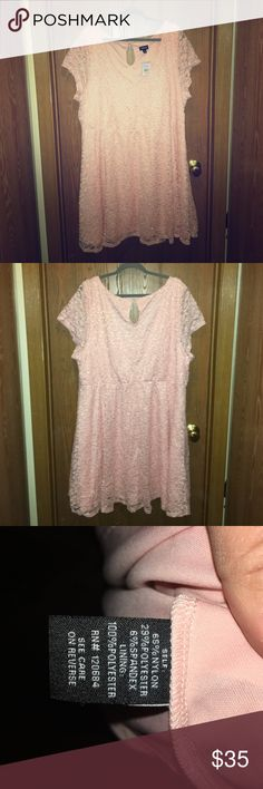 Brand New With Tags Torrid 4x Lace Pink Skater!! This dress is super cute !! It can be worn for a fancy occasion or any occasion!! You can wear it to work or a night out on the town !! It's pink Lace with Silver Sparkle! The Picture doesn't do it Justice !! torrid Dresses Midi
