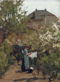 Wasch droog in tuintje, Johannes Evert Hendrik Akkeringa. Dutch (1861 - 1942)
