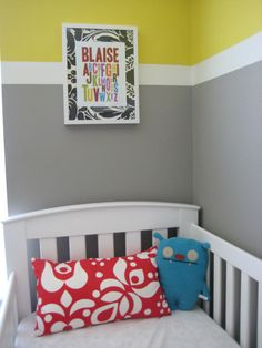 Love the graphic stripe, the graphic pillow print and the awesome alphabet print using the child's name and then the fun mat for it!  Very inspiring