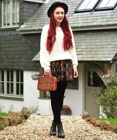 Shop this look on Kaleidoscope (sweater, skirt, hat, bootie)  http://kalei.do/WjB8moXtGhcYAWqm