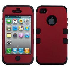 Amazon.com: MYBAT IPHONE4AVHPCTUFFSO006NP Premium TUFF Case for iPhone 4 - 1 Pack - Retail Packaging - Titanium Red/Black: Electronics