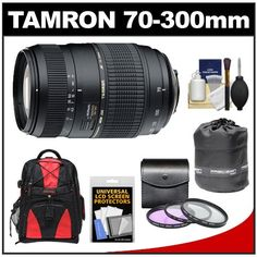 Tamron 70-300mm f/4-5.6 Di LD Macro 1:2 Zoom Lens with Built-in Motor + 3 UV/FLD/CPL Filters + Backpack + Pouch Kit for Nikon D3100, D3200, D5100, D5200, D7000, D7100 Digital SLR Cameras - http://slrscameras.everythingreviews.net/6357/tamron-70-300mm-f4-5-6-di-ld-macro-12-zoom-lens-with-built-in-motor-3-uvfldcpl-filters-backpack-pouch-kit-for-nikon-d3100-d3200-d5100-d5200-d7000-d7100-digital-slr-cameras.html