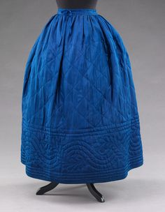 Blue silk quilted petticoat.
