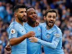 Raheem Sterling of Manchester City celebrates scoring the opening goal with Sergio Aguero and Bernardo Silva during the Premier League match between Manchester City and Brighton & Hove Albion at. Get premium, high resolution news photos at Getty Images Manchester City, James Maddison, Premier League Highlights, Zen, Kun Aguero, Raheem Sterling, Organisation