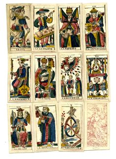 """Complete pack of 78 tarot playing-cards. Hand-coloured woodcut Backs printed pink with a standing wreathed figure holding bunches of grapes (Fortuna?). Lettered at the bottom """"Fab. In Trieste"""" Late 18th Century"""