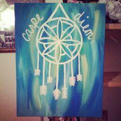 Carpe Diem, canvas made for a friend. Sold at $15. #carpediem #canvaspainting #canvas #art #diy #acrylic #canvasart #canvasdiy #dreamcatcher #dreams #blue