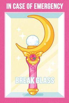 In case of emergency, break glass. Sailor Moon meme