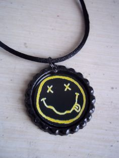 Nirvana Smiley Face necklace // 90s Grunge Necklace by kreepshowkouture, $5.00