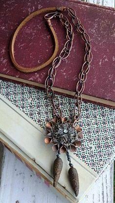 Steel Magnolia necklace vintage copper flower. by jettabugjewelry