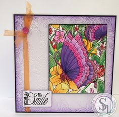 Designed by Marie Jones - Spectrum Noir AquaBlend – Iris, Blueberry, Wild Orchid, Petunia, Soft Red, Damson, Fig, Violet, Persimmon, Pineapple, Strawberry, Parakeet, Bottle Green - Watercolour Card - Black Card - Embossalicious Flutterby Butterfly folder - Distress Ink Wilted Violet - Sheena A Little Bit Sketchy – Only Words – From The Heart - Collall 3D glue gel & All Purpose #crafterscompanion #spectrumnoir