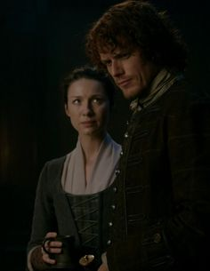 """Episode 212 """"The Hail Mary"""" of Outlander Season Two on Starz via www.outander-online.com with Sam Heughan as Jamie Fraser and Caitriona Balfe as Claire Fraser"""