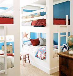 Bunks for the Boys    Built-in bunk beds are a great option for two boys and their frequent guests in this seaside cottage. Great-grandmother's quilts mingle with simple furniture that has been brightened with red paint. A palette of reds, whites, and blues is nautical and just masculine enough for boys.