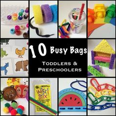 We LOVE these busy bag activities.  A lifesaver at dinner time!