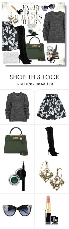 """""""Over the Knee Boots"""" by lady-of-rose ❤ liked on Polyvore featuring Belstaff, Alice + Olivia, Hermès, Kendall + Kylie, SUQQU, Sweet Romance, Love Moschino, Chanel, floral and Sweater"""